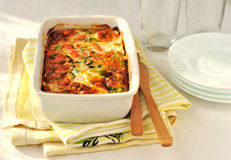 Salmon and Vegetable Bake. Salmon (or trout), cheese and vegetable bake royalty free stock photos