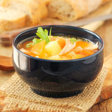 Salmon and vegetable soup Royalty Free Stock Photo