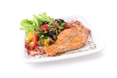Salmon with vegetables Stock Images