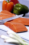 Salmon and vegetables Stock Photos