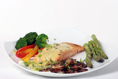 Salmon and vegetables Stock Images