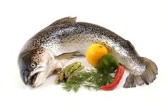 Salmon and vegetables Royalty Free Stock Image
