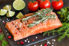 Salmon with vegetables and herbs Stock Image