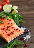 Salmon with vegetables and herbs Royalty Free Stock Photo