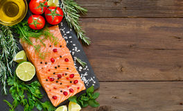 Salmon with vegetables and herbs Royalty Free Stock Photos