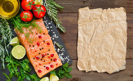 Salmon with vegetables and herbs Royalty Free Stock Photography