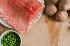 Salmon and vegetables. Ingredients for recipe Stock Images
