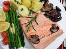Salmon and vegetables meal royalty free stock images