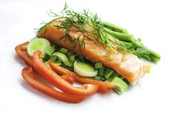 Salmon with vegetables stock photos