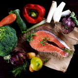Salmon with Vegetables Royalty Free Stock Images