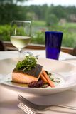 Salmon with Vegetables Served with Wine Stock Photo