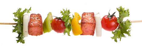 Salmon with vegetables on a skewer Stock Photo