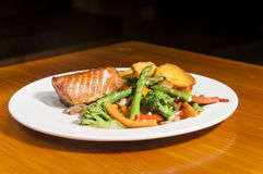 Salmon and veggies Stock Photography