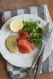 Salmon with watercress Stock Photos