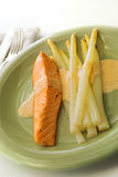 Salmon and white asparagus Stock Photo
