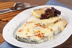 Salmon with white caviar sauce Stock Photos