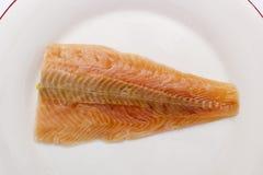 Salmon on a white plate Stock Photo