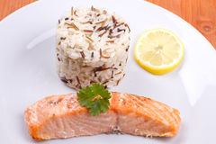 Salmon with wild rice Stock Photos