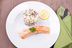 Salmon with wild rice Royalty Free Stock Photo