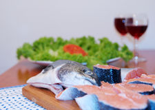 Salmon and wine royalty free stock image