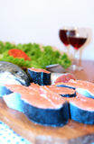 Salmon and wine royalty free stock photography