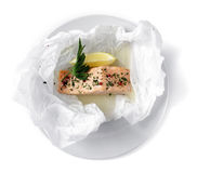 Salmon wine sachets (en Papillote) Royalty Free Stock Photos