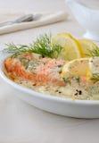 Salmon With Cream And Lemon Sauce Royalty Free Stock Image