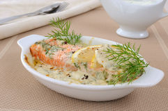 Salmon With Cream And Lemon Sauce Royalty Free Stock Photos