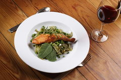 Salmon With Wild Garlic Pasta Stock Image