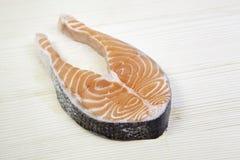 Salmon on wood Stock Photography