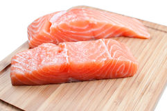 Salmon on woode board Royalty Free Stock Image