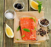 Salmon on a wooden board Royalty Free Stock Photography
