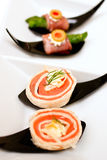 Salmon wrap canape Royalty Free Stock Photography