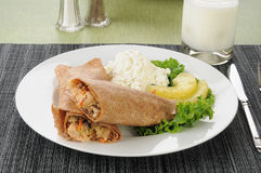 Salmon wrap with cottage cheese Stock Photo