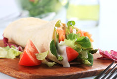 Salmon wrap sandwich Royalty Free Stock Photos