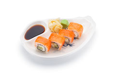 Salmon (philadelphia) sushi roll with ginger wasabi and soy sauce Royalty Free Stock Photos