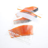 Salmon in zipper bag Stock Images