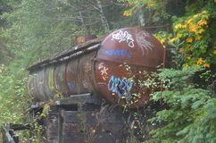 Salmonberry River Trail`s Abandoned Railroad Water Tank. This is a water tank for a steam locomotive on the abandoned railroad on the Salmonberry River trail in Stock Photos