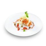 Salmone affumicato con il formaggio della mozzarella servito Fotografia Stock