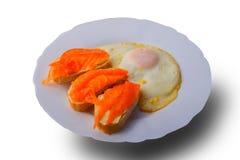 Salmone affumicato con le uova fritte Fotografia Stock