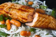 Salmone con le verdure e la pasta Fotografie Stock