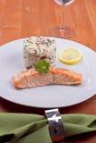 Salmone con riso Fotografie Stock