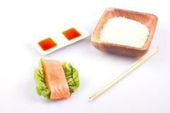 Salmone con riso Fotografia Stock