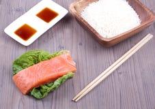 Salmone con riso Fotografie Stock Libere da Diritti