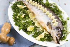 Salmone cucinato tutto Fotografia Stock Libera da Diritti