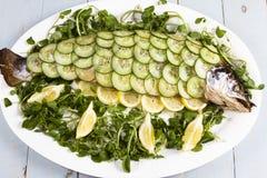 Salmone cucinato tutto Immagini Stock