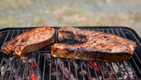 Salmone d'Alasca sulla griglia Immagine Stock Libera da Diritti