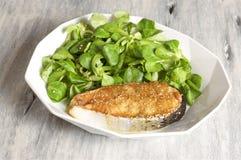 salmone della Miele-senape servito con la valerianella Fotografia Stock