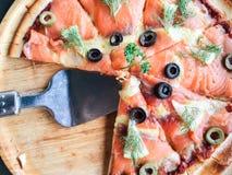 Salmone della pizza Immagine Stock Libera da Diritti