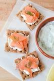 Salmone e canape di tzatziki Fotografia Stock